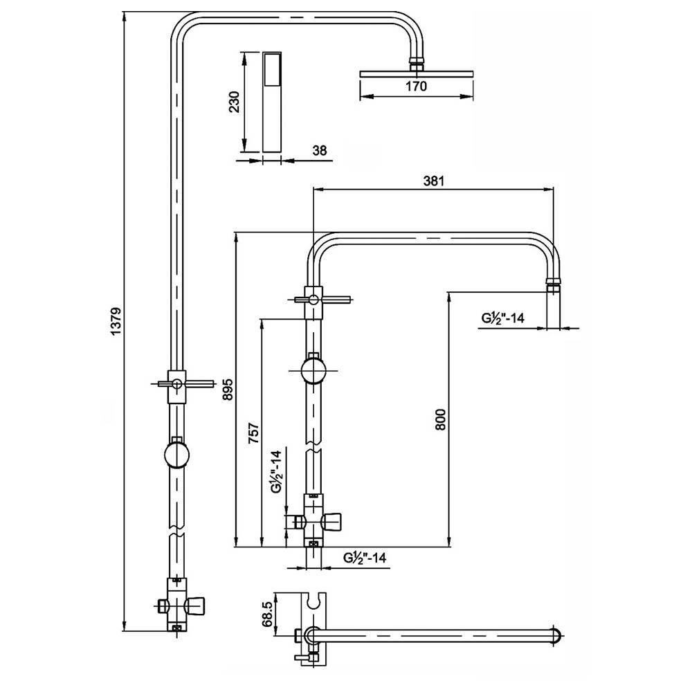Colonna doccia termostatica regolabile con soffione e - Altezza soffione doccia ...