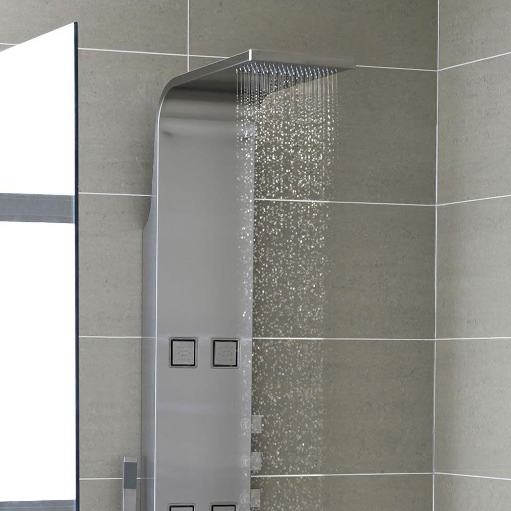 Pannello doccia termostatico in acciaio inox con soffione - Soffione a cascata ...