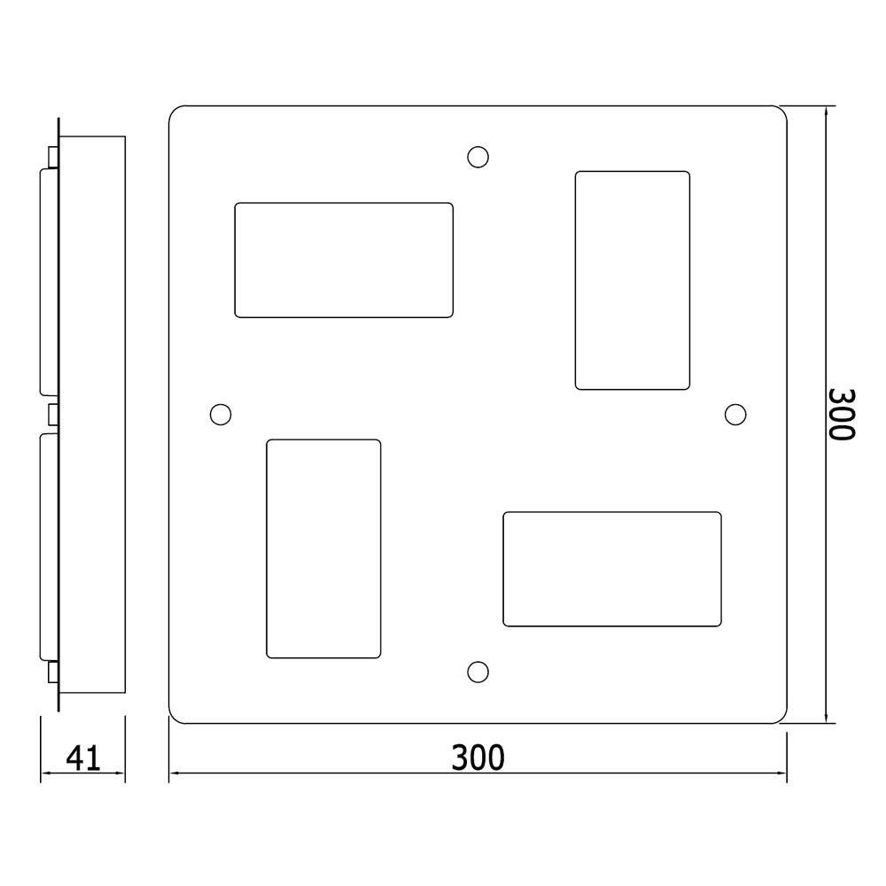Plafoniera da Soffitto Rettangolare con 4 Faretti LED 18W per ...
