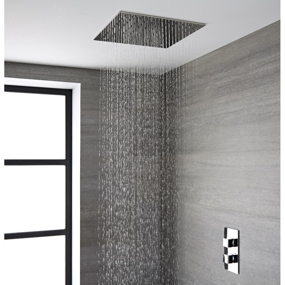 Soffione doccia da incasso quadrato a soffitto quadrato 400 x 400mm acciaio inox trenton - Soffione doccia soffitto ...