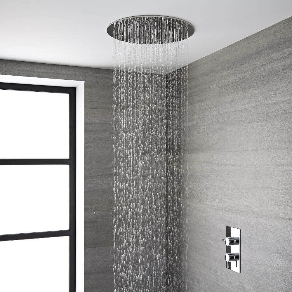 Soffione doccia da incasso quadrato a soffitto circolare - Soffione doccia incasso ...