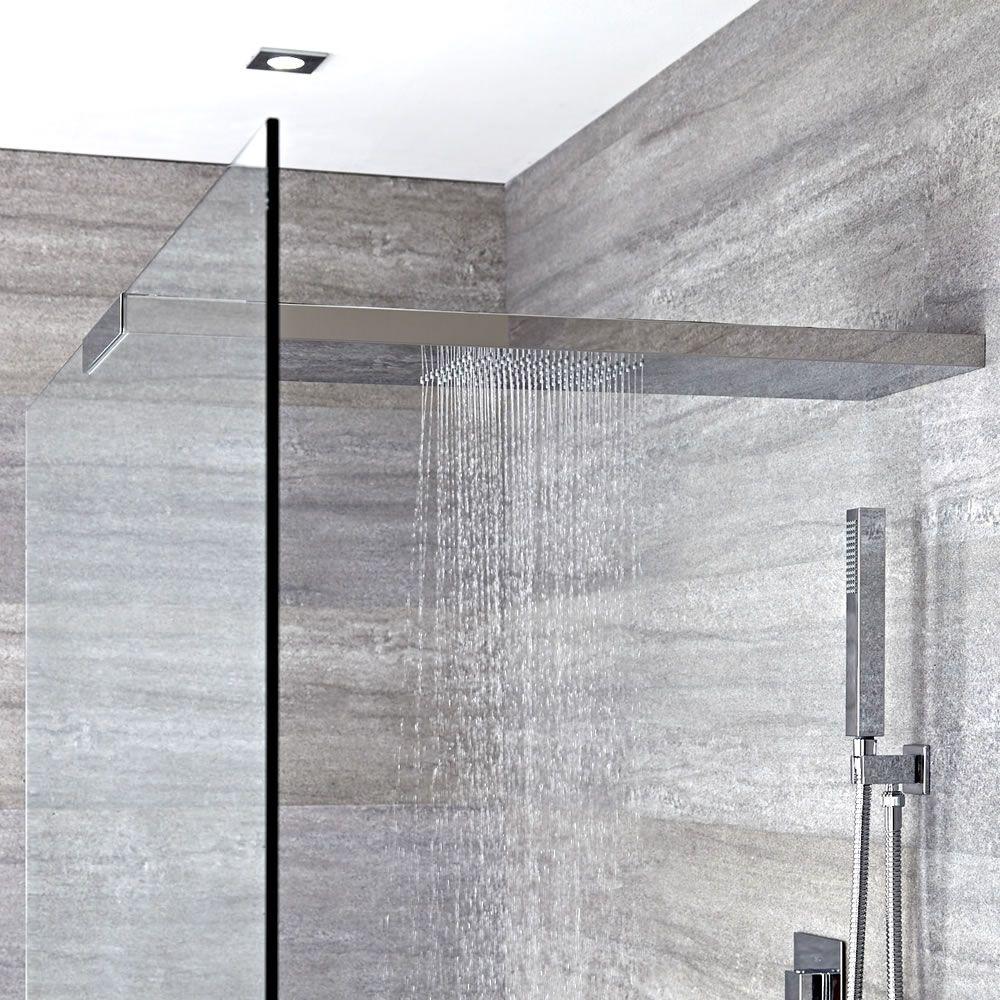 Soffione doccia con braccio doccia integrato per parete box doccia 250x800mm portland - Soffione doccia soffitto ...