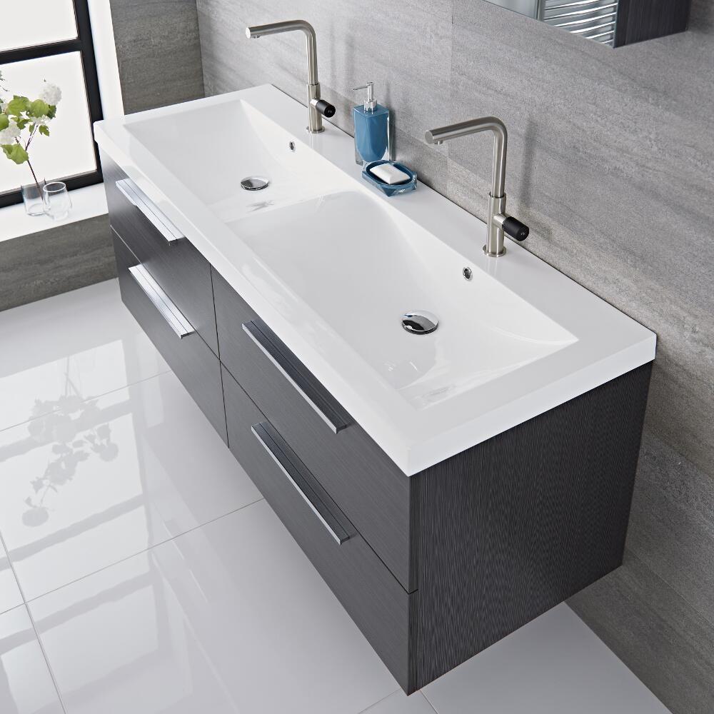 Mobile bagno sospeso doppio colore grigio 1440x510x550mm con lavabo integrato langley - Mobile bagno con doppio lavabo ...