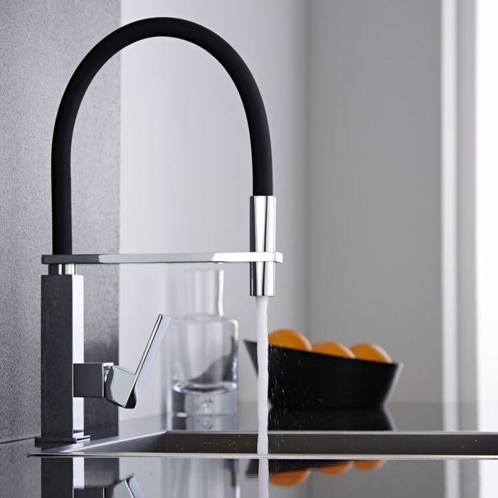 Miscelatore lavello cucina nero con doccia for Lavello nero