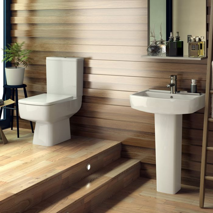 Set Completo per Stanza da Bagno con Lavabo e Sanitario in Stile Minimalista