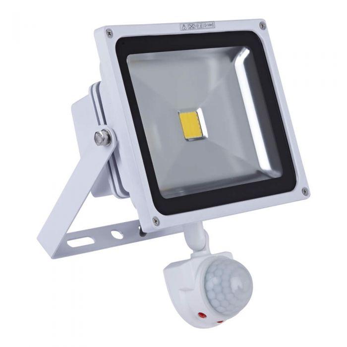 Faro Proiettore LED 30W con Sensore di Movimento e Struttura Bianca