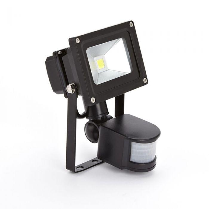 Faro Proiettore LED 10W con Sensore di Movimento con Struttura Nera