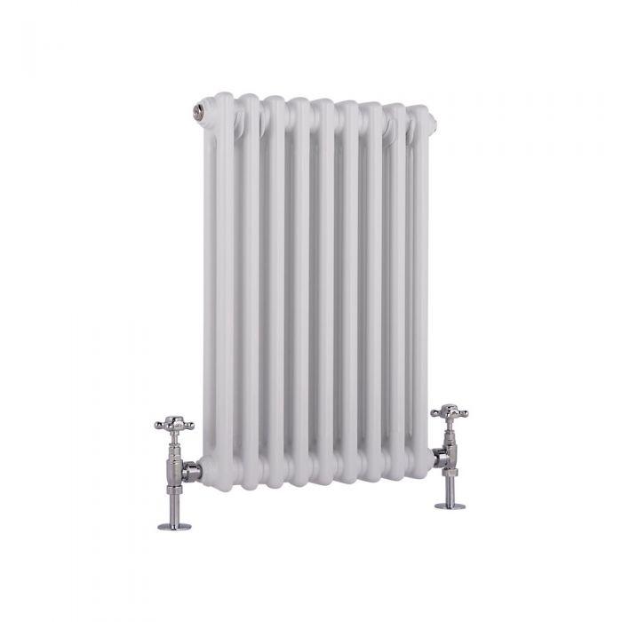 Radiatore di Design Orizzontale Doppio Tradizionale - Bianco - 600mm x 405mm x 66mm - 568 Watt - Regent