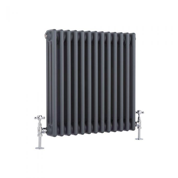 Radiatore di Design Orizzontale a 3 Colonne Tradizionale - Antracite - 600mm x 585mm x 100mm - 1060 Watt - Regent