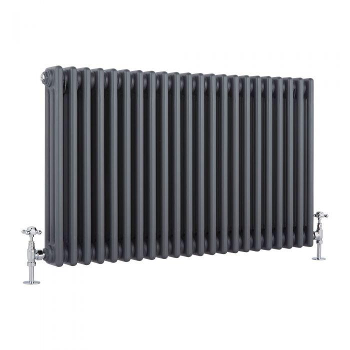 Radiatore di Design Orizzontale a 3 Colonne Tradizionale - Antracite - 600mm x 990mm x 100mm - 1794 Watt - Regent