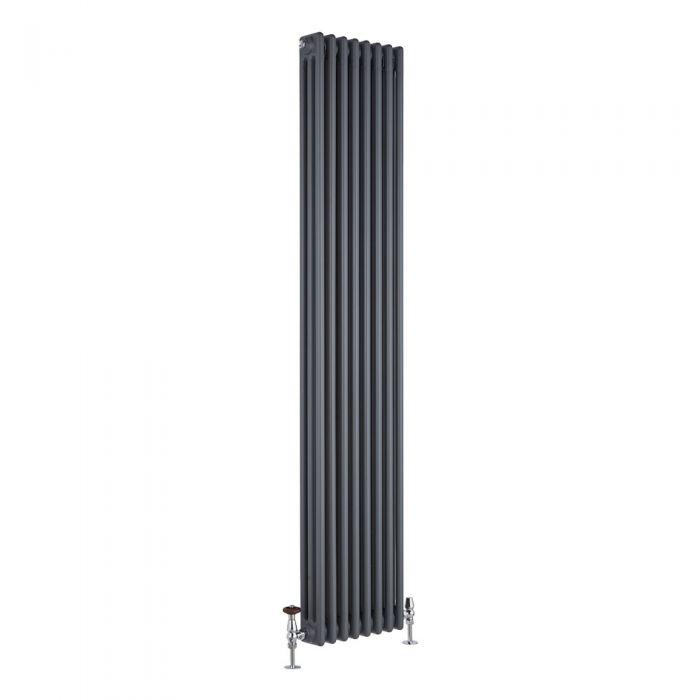 Radiatore di Design Verticale a 3 Colonne Tradizionale - Antracite - 1800mm x 360mm x 100mm - 1737 Watt - Regent