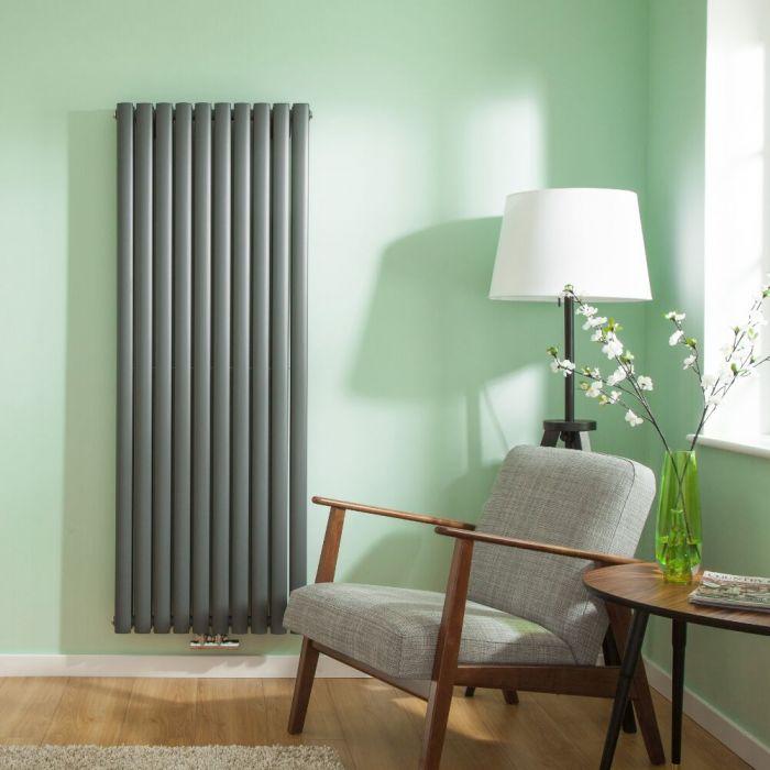 Radiatore di Design Verticale Doppio con Attacco Centrale - Antracite - 1600mm x 590mm x 78mm - 2148 Watt - Revive Caldae