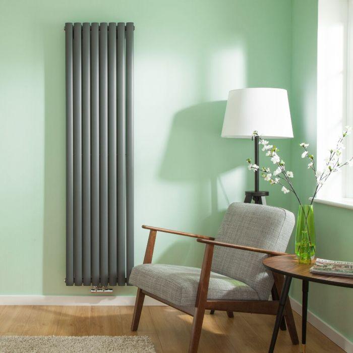 Radiatore di Design Verticale Doppio con Attacco Centrale - Antracite - 1780mm x 472mm x 78mm - 1735 Watt - Revive Caldae