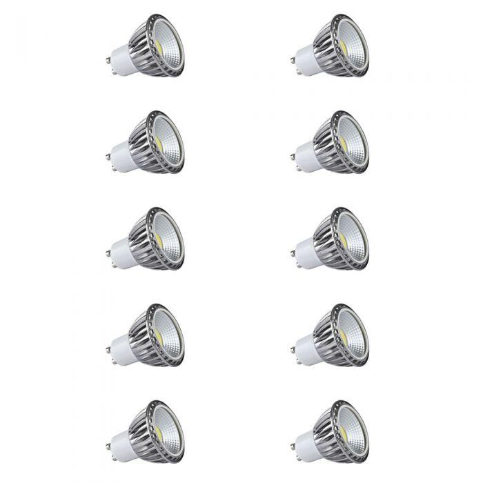Set 10x Lampadine Spot LED COB 5W GU10 Equivalente a 50W