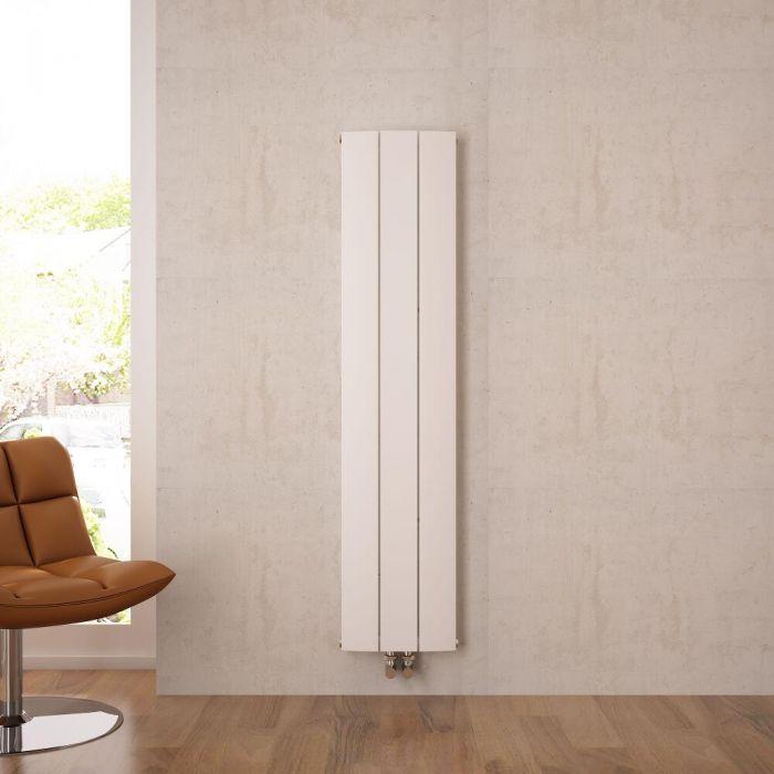 Radiatore di Design Verticale con Attacco Centrale - Alluminio - Bianco - 1600mm x 280mm x 45mm - 1021 Watt - Aurora