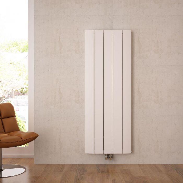 Radiatore di Design Verticale con Attacco Centrale - Alluminio - Bianco - 1600mm x 470mm x 45mm - 1701 Watt - Aurora
