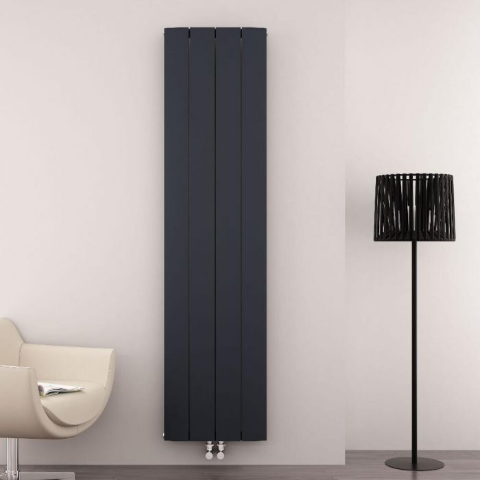 Radiatore di Design Verticale con Attacco Centrale - Alluminio - Antracite - 1800mm x 375mm x 45mm - 1535 Watt - Aurora