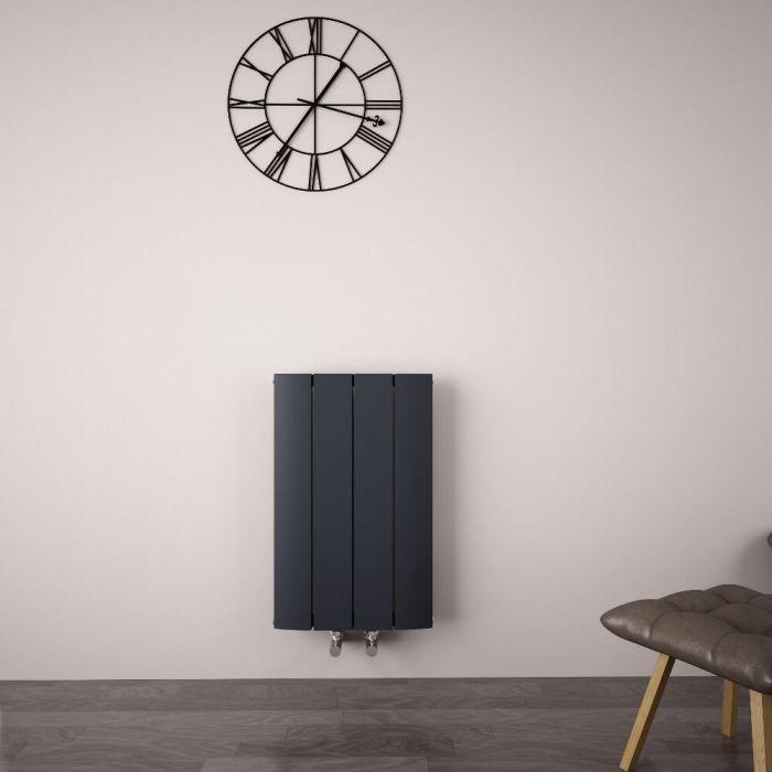Radiatore di Design Orizzontale con Attacco Centrale - Alluminio - Antracite - 600mm x 375mm x 45mm - 512 Watt - Aurora