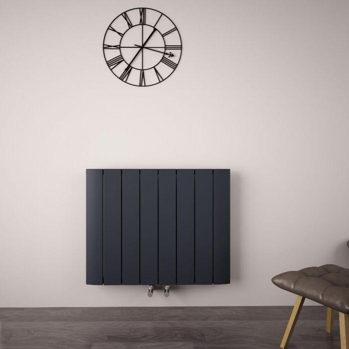 Radiatore di Design Orizzontale con Attacco Centrale - Alluminio - Antracite - 600mm x 755mm x 45mm - 1024 Watt - Aurora