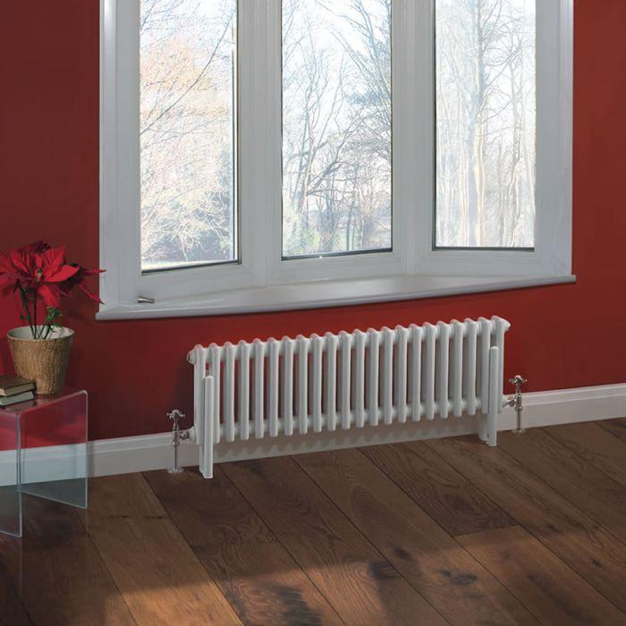 Radiatore di Design Orizzontale Doppio Tradizionale - Bianco - 300mm x 1013mm x 68mm - 700 Watt - Regent