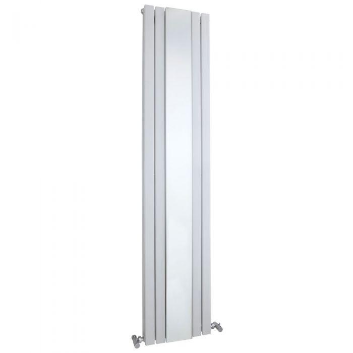 Radiatore Design Verticale - Pannello Doppio e Specchio - Sloane Bianco - 1696 Watt - 1800mm x 381mm