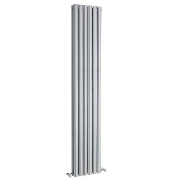 Radiatore di Design Verticale Doppio - Argento Lucido - 1800mm x 354mm x 105mm - 2200 Watt - Revive