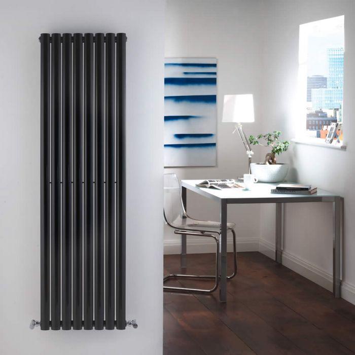 Radiatore di Design Verticale Doppio - Nero - 1600mm x 472mm x 78mm - 1638 Watt - Revive