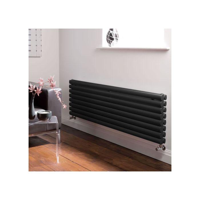 Radiatore di Design Orizzontale Doppio - Nero - 472mm x 1600mm x 78mm - 1611 Watt - Revive