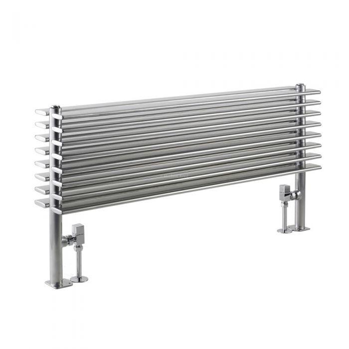 Radiatore di Design Orizzontale Doppio - Cromato - 504mm x 1000mm x 146mm - 1016 Watt - Parallel