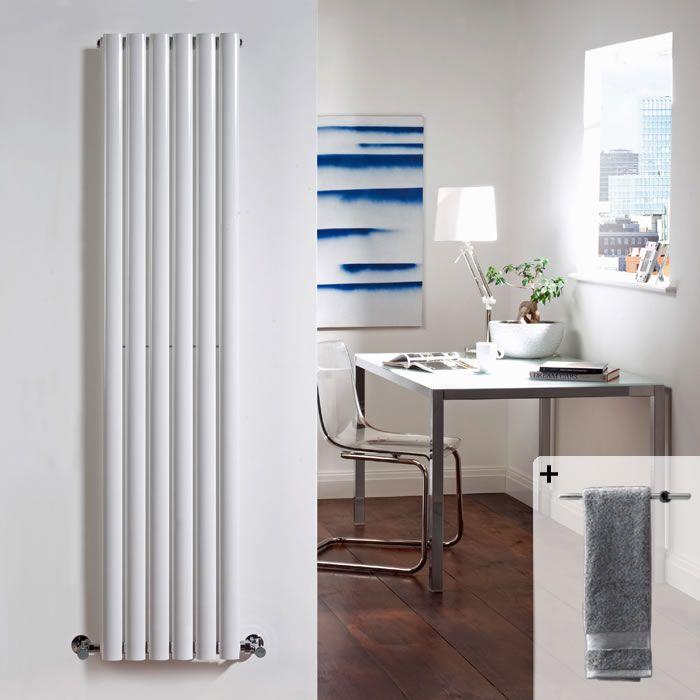 Radiatore di Design Verticale - Bianco - 1600mm x 354mm x 105mm - 1014 Watt - Con Portasalviette - Revive
