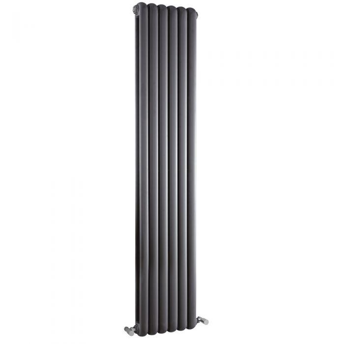 Radiatore di Design Verticale Doppio Tradizionale - Antracite - 1800mm x 383mm x 80mm - 1489 Watt - Saffre