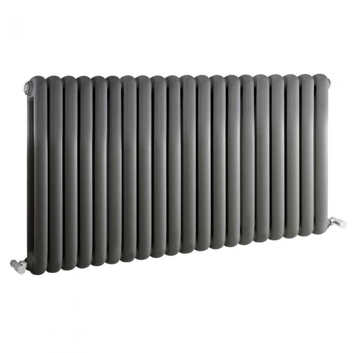 Radiatore di Design Orizzontale Doppio Tradizionale - Antracite - 635mm x 1223mm x 80mm - 2082 Watt - Saffre