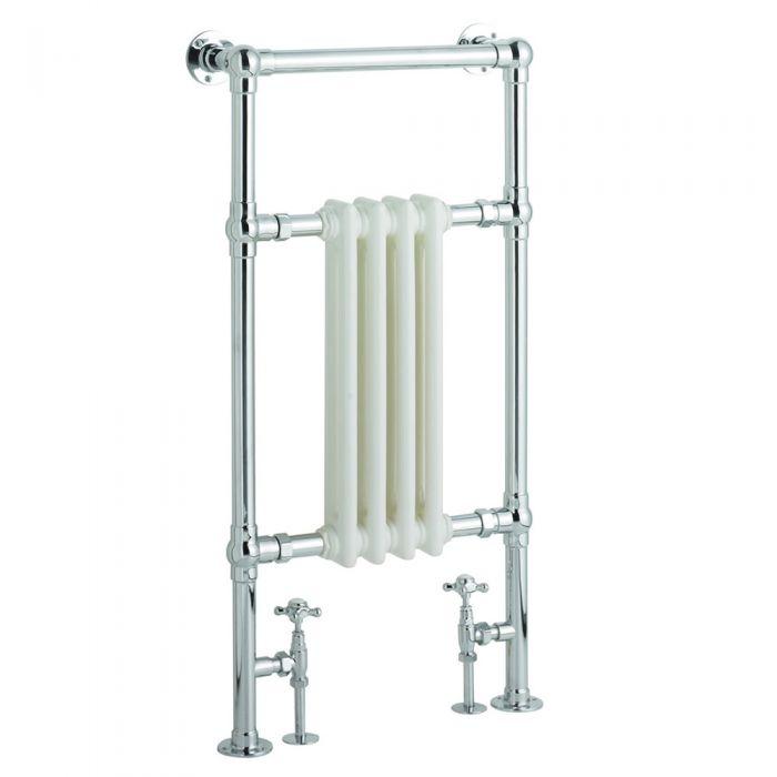 Radiatore Scaldasalviette Tradizionale - Cromato e Bianco - 930mm x 495mm x 137mm - 367 Watt - Marchesa