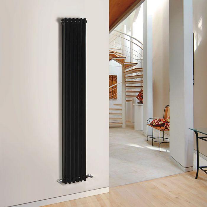 Radiatore di Design Verticale a 3 Colonne Tradizionale - Nero - 1800mm x 293mm x 100mm - 1169 Watt - Regent