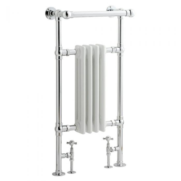 Radiatore Scaldasalviette Tradizionale - Cromato e Bianco - 930mm x 452mm x 219mm - 454 Watt - Marchesa