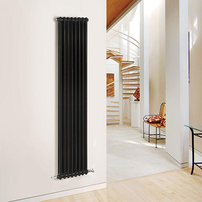 Radiatore di Design Verticale Doppio Tradizionale - Nero - 1800mm x 383mm x 68mm - 1245 Watt - Regent