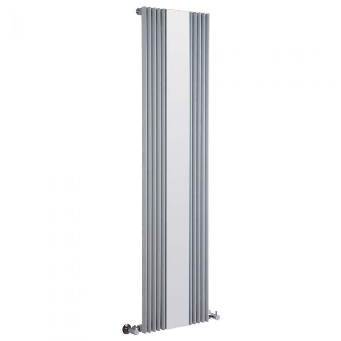 Radiatore di Design Verticale con Specchio - Argento - 1600mm x 420mm x 63mm - 840 Watt - Keida