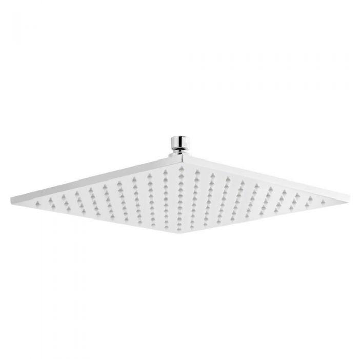 Soffione Doccia LED Orientabile Quadrato in Acciaio Inox di 300mm