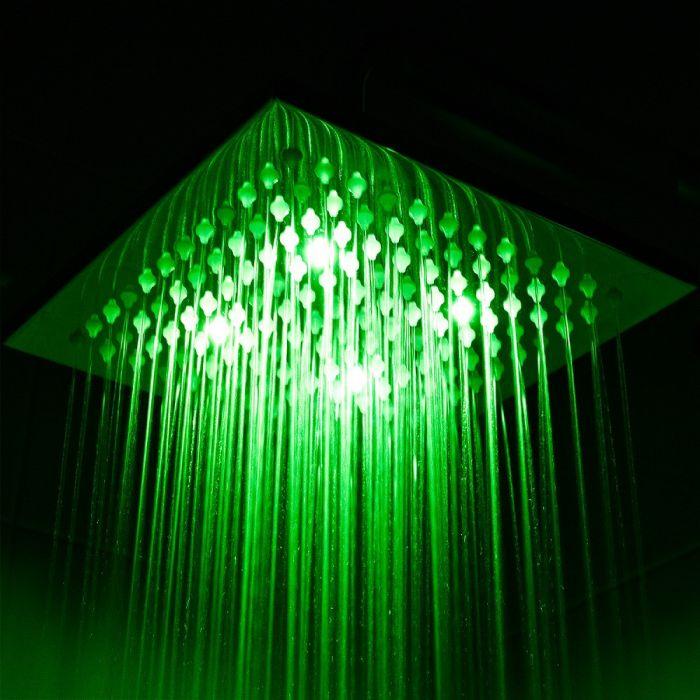 Soffione Doccia LED Orientabile Quadrato in Acciaio Inox di 200mm
