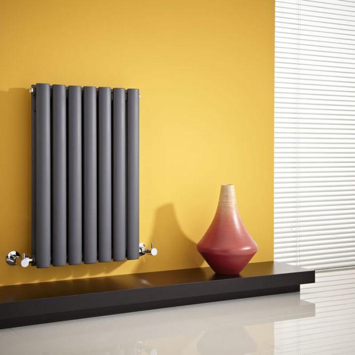 Radiatore di Design Orizzontale Doppio - Antracite - 635mm x 415mm x 78mm - 652 Watt - Revive