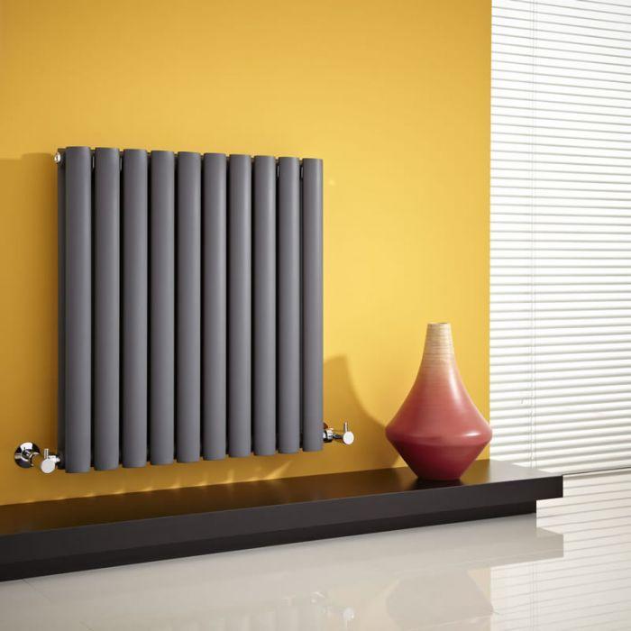 Radiatore di Design Orizzontale Doppio - Antracite - 635mm x 595mm x 78mm - 932 Watt - Revive