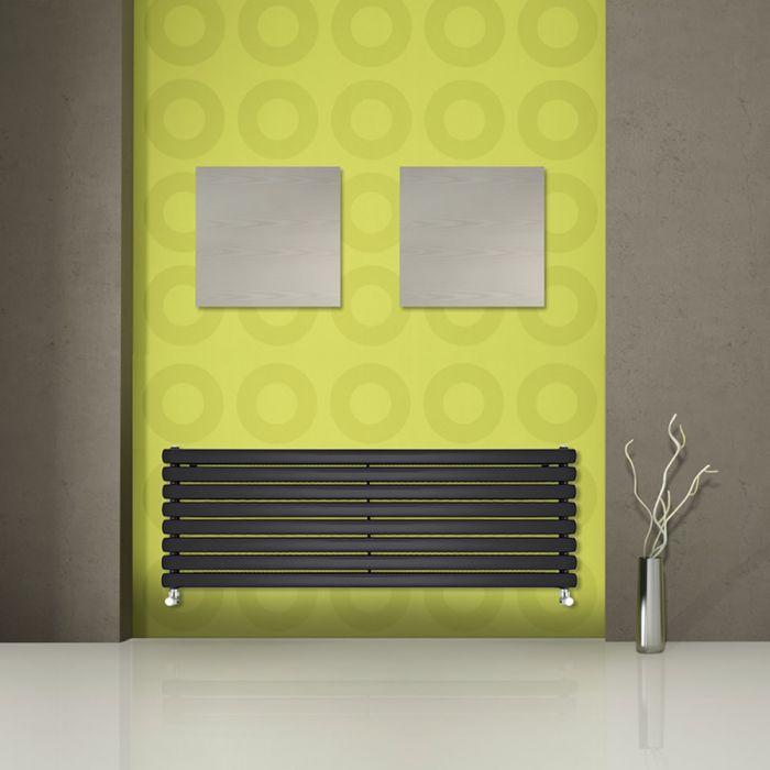Radiatore di Design Orizzontale Doppio - Nero - 472mm x 1780mm x 78mm - 1798 Watt - Revive