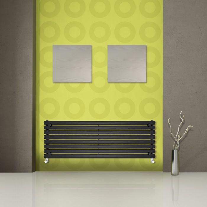 Radiatore di Design Orizzontale  - Nero - 472mm x 1780mm x 56mm - 1162 Watt - Revive