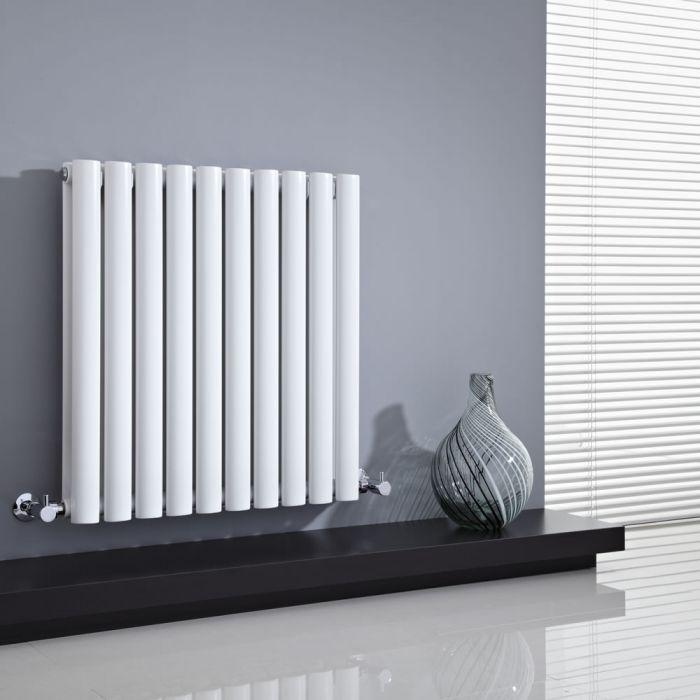 Radiatore di Design Orizzontale Doppio - Bianco - 635mm x 595mm x 78mm - 932 Watt - Revive