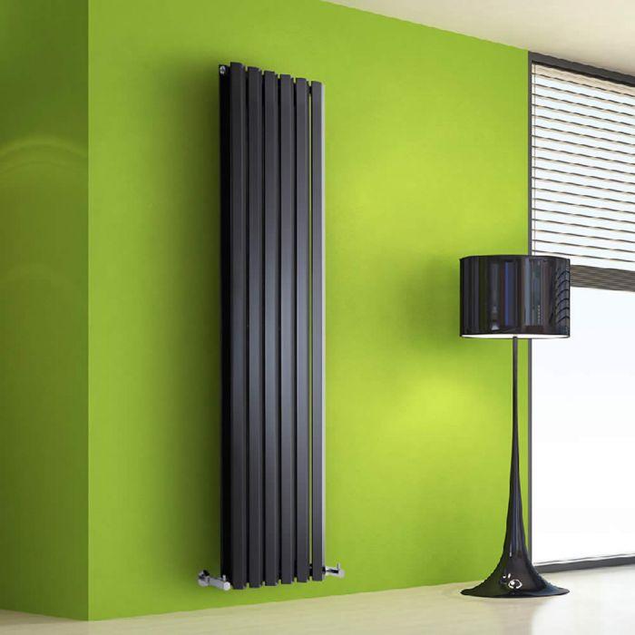 Radiatore di Design Verticale Doppio - Nero - 1600mm x 420mm x 86mm - 1475 Watt - Rombo