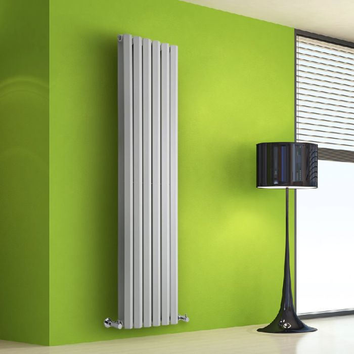 Radiatore di Design Verticale Doppio - Bianco - 1600mm x 420mm x 86mm - 1475 Watt - Rombo