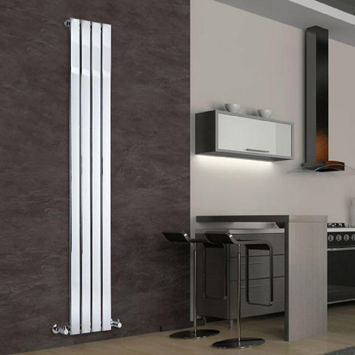 Radiatore di Design Verticale - Cromato - 1800mm x 300mm x 50mm - 445 Watt - Delta