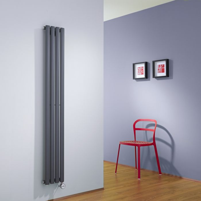 Radiatore di Design Elettrico Verticale - Antracite - 1600mm x 236mm x 56mm - Revive