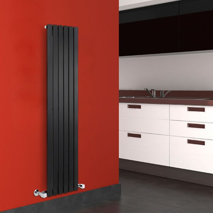 Radiatore di Design Verticale  - Nero - 1600mm x 354mm x 54mm - 862 Watt - Sloane