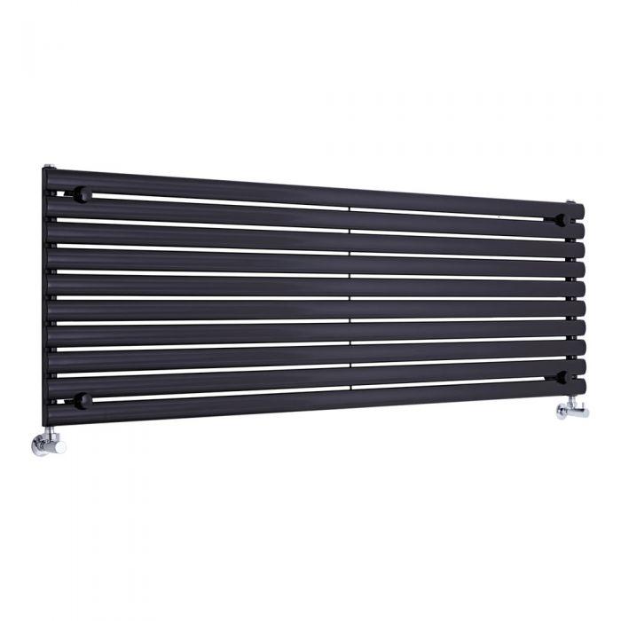 Radiatore di Design Orizzontale - Nero - 590mm x 1780mm x 55mm - 1476 Watt - Revive